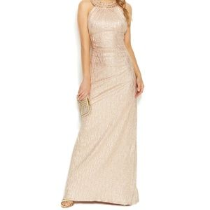 XSCAPE Rose Gold Gown Halter Grecian style Halter